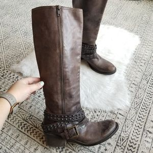Bronx Tall Leather Brown Western Boots 39 Narrow